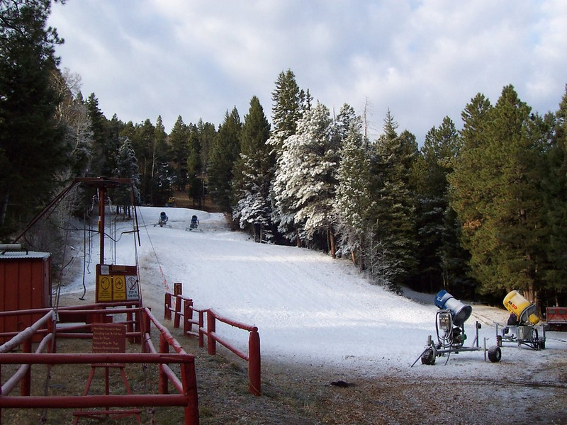 First man-made snow on the practice slope.