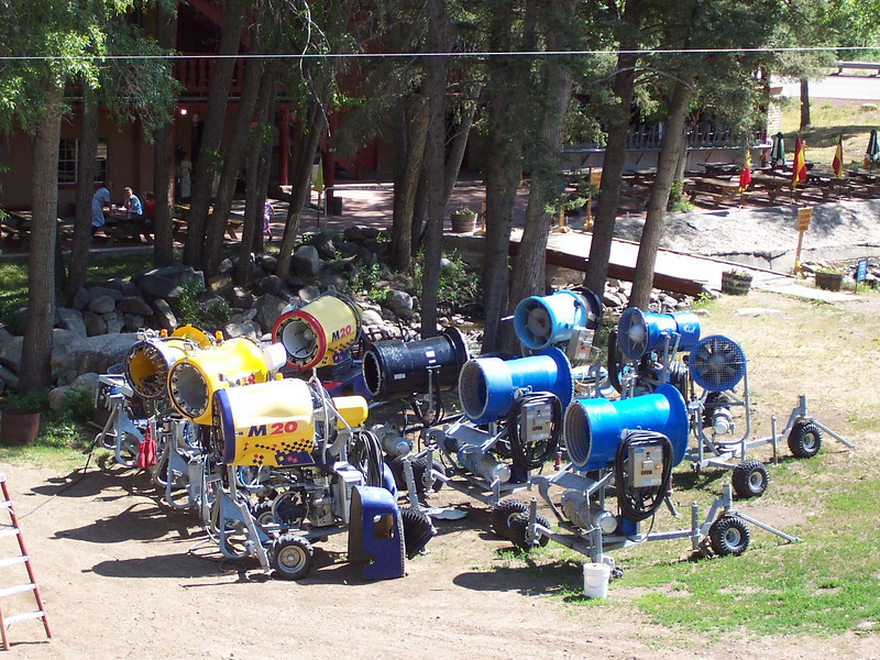 Our fleet of snowguns outside the shop for Summer maintenance.