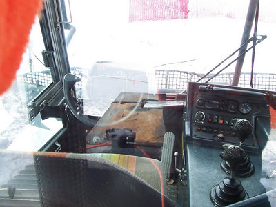 Driver's view from inside the Pisten Bully snowcat.
