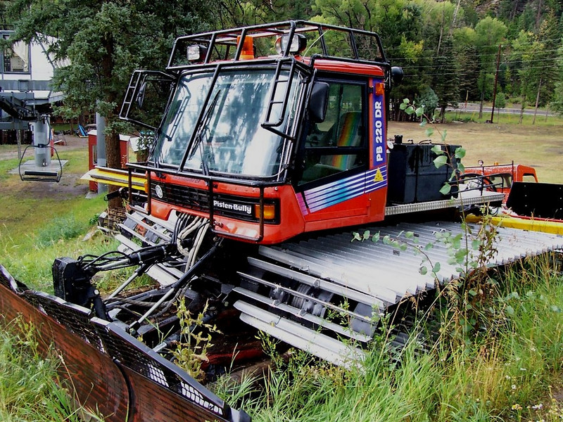 A Pisten Bully snowcat waits for the first snow of the season. We use this as a backup if the other snowcats break down.