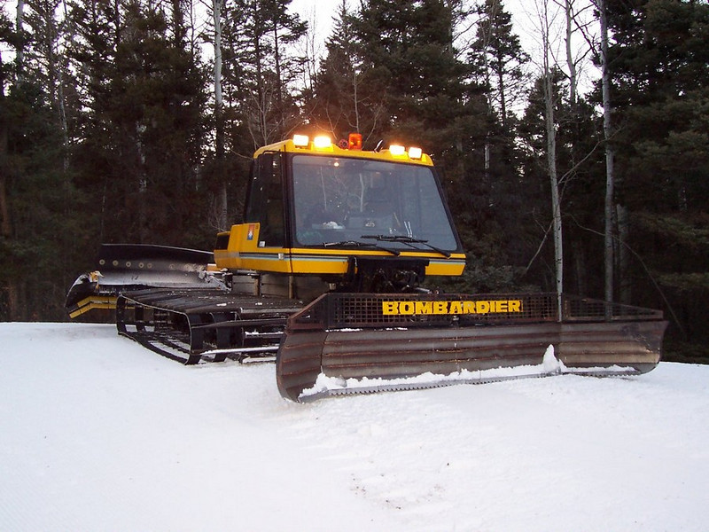 Chris' Bombardier snowcat working the slopes at Sipapu.