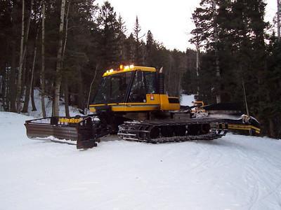 Chris' Bombardier snowcat working the slopes at Sipapu.