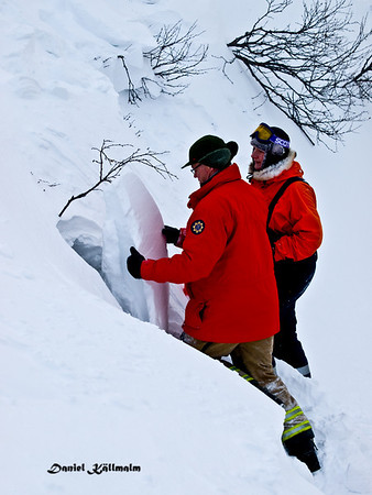 Avalanche search and rescue yearly rehersal in Gräftåvallen, Jämtland, Sweden.
