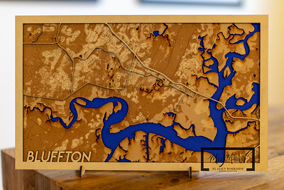 Bluffton, SC Laser Cut Map on Proofgrade