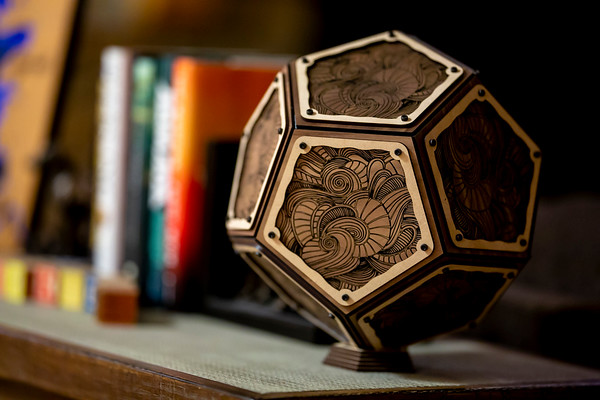 Walnut Dodecahedron Abstract Art