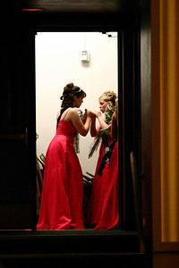 ROBIN CAMP/Lebanon Express  Tori Harvey and Barbie McGehee converse befor the coronation of the 2006 Strawberry Queen.