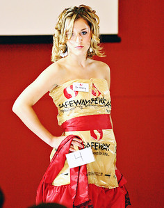 ROBIN CAMP/Lebanon Express  Brittany XXXXX modeled this dress made out recycled grocery bags during the recyled portion of the Lebanon High School Fashion show.