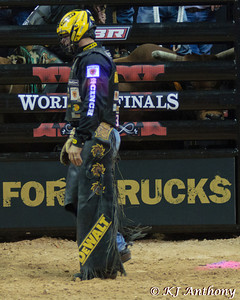 Brendon Clark on Train Wreck.  It was the first night and Round One of the PBR World Finals at the Thomas and Mack Center on October 24, 2012, in Las Vegas Nevada.