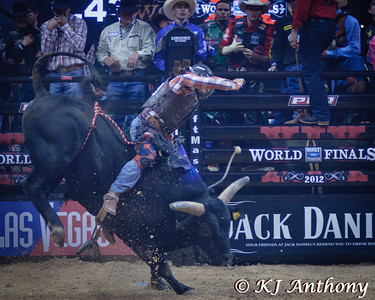 Juan Carlos Contreras on Davids Dream.  It was the first night and Round One of the PBR World Finals at the Thomas and Mack Center on October 24, 2012, in Las Vegas Nevada.