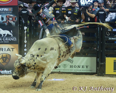 Agnaldo Cardozo on Sancho.  It was the first night and Round One of the PBR World Finals at the Thomas and Mack Center on October 24, 2012, in Las Vegas Nevada.