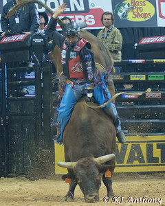 David Kennedy on Buck Off.  It was the first night and Round One of the PBR World Finals at the Thomas and Mack Center on October 24, 2012, in Las Vegas Nevada.