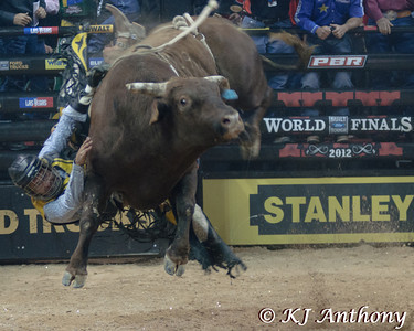 Juan Carlos Contreras on Messy Mossy.  It was the second night and Round Two of the PBR World Finals at the Thomas and Mack Center on October 25, 2012, in Las Vegas Nevada.