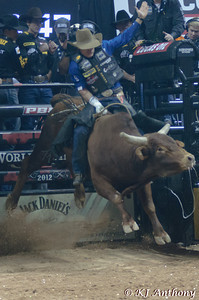 Emilio Resende on Carney Man.  It was the second night and Round Two of the PBR World Finals at the Thomas and Mack Center on October 25, 2012, in Las Vegas Nevada.