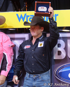 Chris Shivers won Round 2 with 89.75 points on Prince Albert.  It was the second night and Round Two of the PBR World Finals at the Thomas and Mack Center on October 25, 2012, in Las Vegas Nevada.