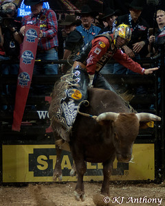 Luke Snyder on Ragin JT.  It was the second night and Round Two of the PBR World Finals at the Thomas and Mack Center on October 25, 2012, in Las Vegas Nevada.