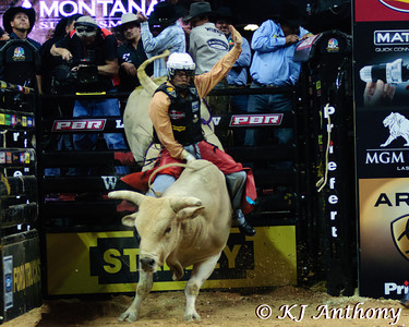 Lachlan Richardson on Sue.  It was the third night and Round Three of the PBR World Finals at the Thomas and Mack Center on October 26, 2012, in Las Vegas Nevada.