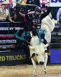 Cody Johnson on Strokin.  It was the third night and Round Three of the PBR World Finals at the Thomas and Mack Center on October 26, 2012, in Las Vegas Nevada.