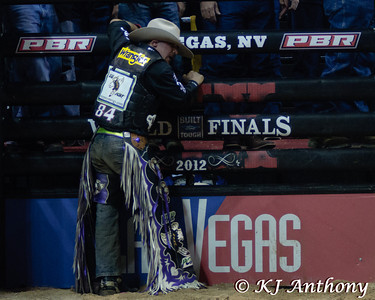 Chase Outlaw.  It was the fifth night and Round Five of the PBR World Finals at the Thomas and Mack Center on October 28, 2012, in Las Vegas Nevada.