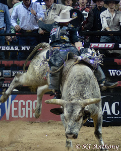 Chase Outlaw on T-Rex.  It was the fifth night and Round Five of the PBR World Finals at the Thomas and Mack Center on October 28, 2012, in Las Vegas Nevada.