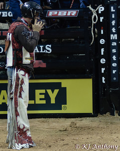 Cody Nance.  It was the fifth night and Round Five of the PBR World Finals at the Thomas and Mack Center on October 28, 2012, in Las Vegas Nevada.