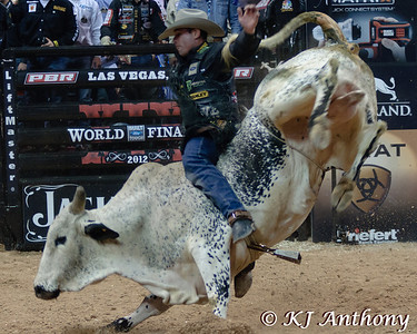 It was the Championship Round -  Round Six of the PBR World Finals at the Thomas and Mack Center on October 28, 2012, in Las Vegas Nevada.  Guiliherme Marchi on Bootdaddy.com