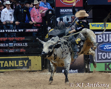 It was the Championship Round -  Round Six of the PBR World Finals at the Thomas and Mack Center on October 28, 2012, in Las Vegas Nevada.  Kody Lostroh on Quiet Riot.