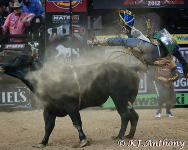 It was the Championship Round -  Round Six of the PBR World Finals at the Thomas and Mack Center on October 28, 2012, in Las Vegas Nevada.  Davi Henrique on Chocolate Thunder.