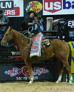Mike White and Adriano Moraes at the 2012 Professional Bull Riders (PBR) World Finals in Las Vegas, Nevada