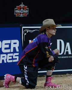 Bullfighters are the hardest working men of the PBR, they don't think twice about placing themselves between a bull's head, horns, or hooves to protect a bull rider.