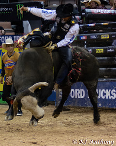 Joao Ricardo Vieira and Buck Dynasty.  It was the second night and Round Four of PBR's Last Cowboy Standing at the Mandalay Bay Events Center on May 11, 2013, in Las Vegas Nevada.