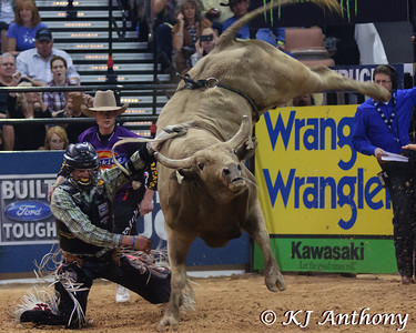 Nathan Schaper and Wolf Pup.  It was the second night and Round Two of PBR's Last Cowboy Standing at the Mandalay Bay Events Center on May 11, 2013, in Las Vegas Nevada.