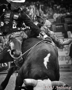 J.B. Mauney and Showboat.  It was the second night and Round Two of PBR's Last Cowboy Standing at the Mandalay Bay Events Center on May 11, 2013, in Las Vegas Nevada.