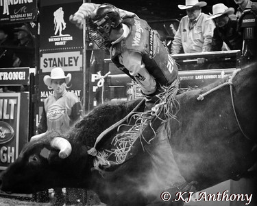 Ty Pozzobon and Sasquatch.  It was the second night and Round Two of PBR's Last Cowboy Standing at the Mandalay Bay Events Center on May 11, 2013, in Las Vegas Nevada.