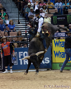 Joao Ricardo Vieira and Asteroid.  It was the second night and Round Three of PBR's Last Cowboy Standing at the Mandalay Bay Events Center on May 11, 2013, in Las Vegas Nevada.