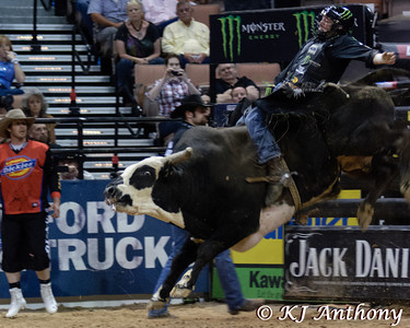 L.J. Jenkins and Lightmaker's Rango.  It was the second night and Round Three of PBR's Last Cowboy Standing at the Mandalay Bay Events Center on May 11, 2013, in Las Vegas Nevada.
