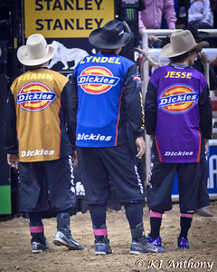 Protect the Fallen refers to the Dickies Durabullfighters of the PBR. Bullfighters are the hardest working men of the PBR, they don't think twice about placing themselves between a bull's head, horns, or hooves to protect a bull rider. These men are brave, fearless, and love what they do.  Thank you to Shorty, Frank, Lyndel, and Jesse for we know that for you fighting bulls and saving bull riders is just another day at the office.