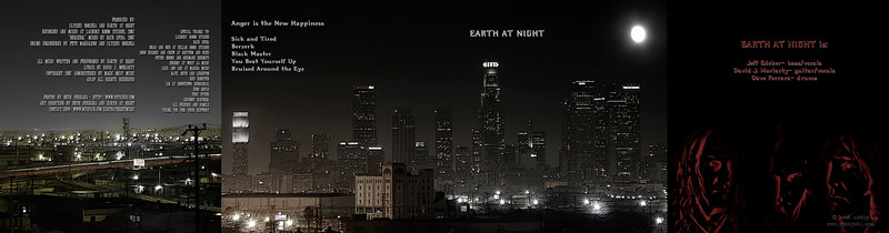 Artwork for CD for the band, Earth at Night.  I photographed all images, Photoshopped them, and designed the layout (4 page spread)