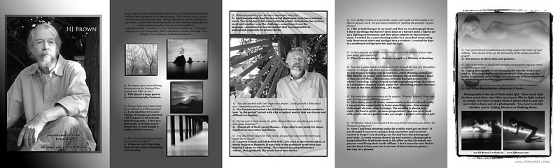 Article for Moonlight Art Magazine.  The photos were artist originals.  I shot the portraits and created the layout design, and interviewed the artist.