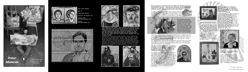 Article for Moonlight Art Magazine.  The photos were artist originals.  I shot the portraits of the artist and created the layout design, and interviewed the artist.