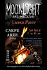 Flyer for the launch party for Moonlight Art Magazine.  I photographed and Photoshopped all images, and designed the flyer.