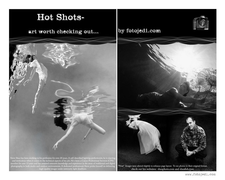 """""""Hot Shots"""" column for Moonlight Art Magazine featuring my photography and graphic design."""