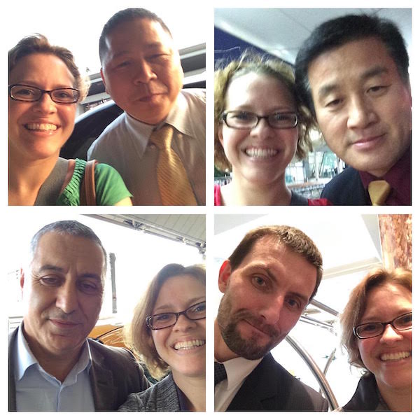 Trish Collins selfies with taxi drivers
