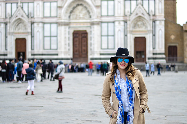 Taylor Fuller in Piazza Santa Croce in Florence