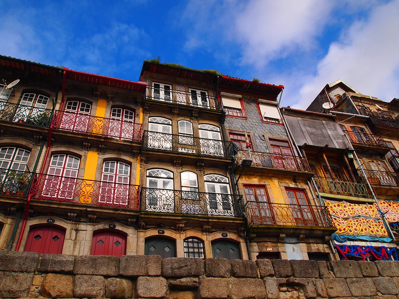 buildings along the Douro river in Porto, Portugal