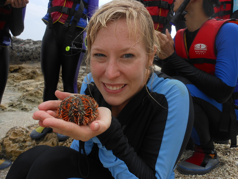 Kristin Winet with marine life