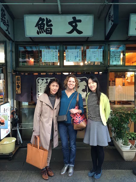 Trish Collins in Tsukiji Fish Market in Tokyo