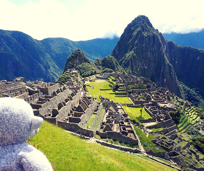 Vicky Sosa and Buddy the Traveling Monkey and Machu Picchu