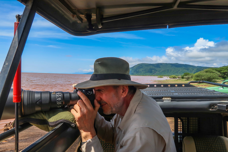 Capturing birds along the shore of Lake Manyara, Tanzania