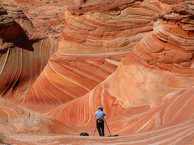 Phyllis photographed Bill at The Wave, North Coyote Buttes, Vermilion Cliffs National Monument, Arizona