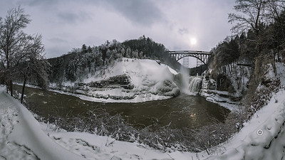 Winter Landscape at Upper falls in Letchworth - Published in D&C - Jan. 2018